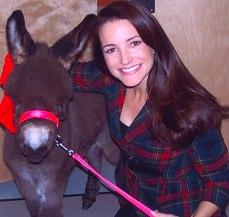 Kristin Davis with miniature donkey