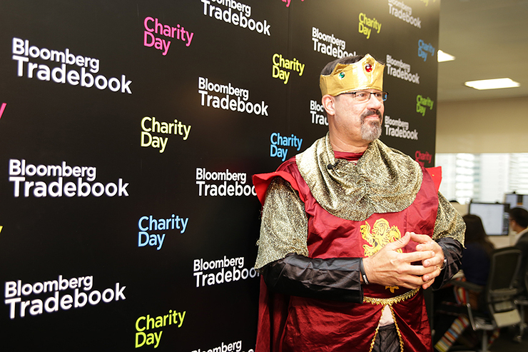 Tom Kingsley, head of Tradebook in Asia, as King Arthur