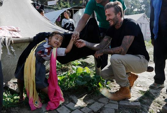 UNICEF Goodwill Ambassador David Beckham visits children in Nepal six months after earthquake