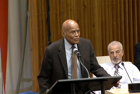 Harry Belafonte addresses event Confronting Silence Perspectives and Dialogue on Structural Racism against people of African Descent Worldwide