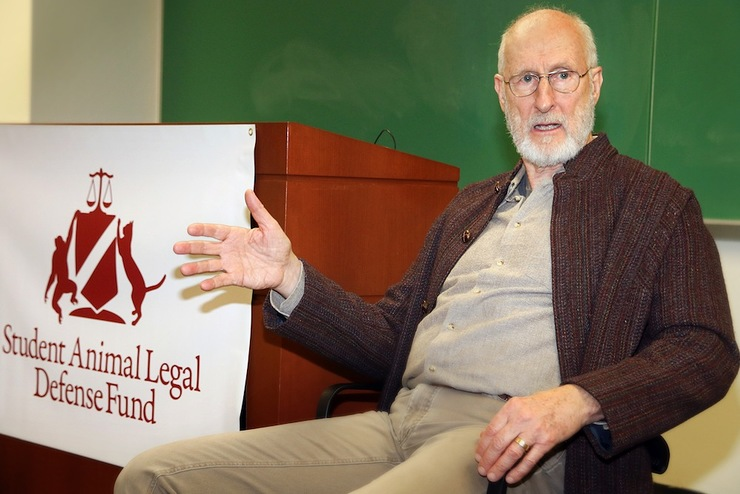 James Cromwell speaking at the Student Animal Legal Defense Fund chapter at New York's Cordozo School of Law