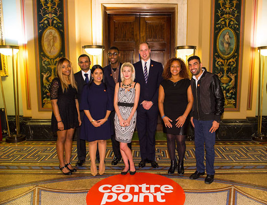 The Duke of Cambridge with Centrepoint Award winners