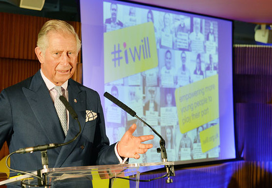 Prince Charles speaking during a visit to the Step Up To Serve charity and the #iwill campaign