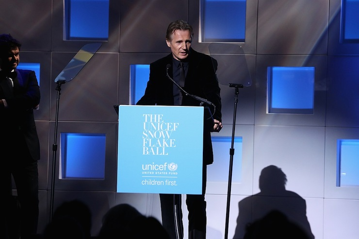 Liam Neeson speaks on stage at 11th Annual UNICEF Snowflake Ball