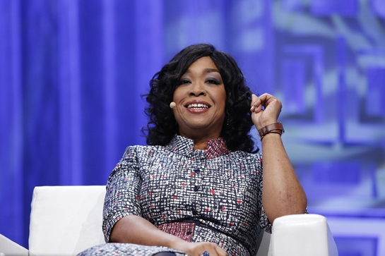 Shonda Rhimes speaks to a sold-out audience of more than 10,000 at the 11th annual Massachusetts Conference for Women in Boston