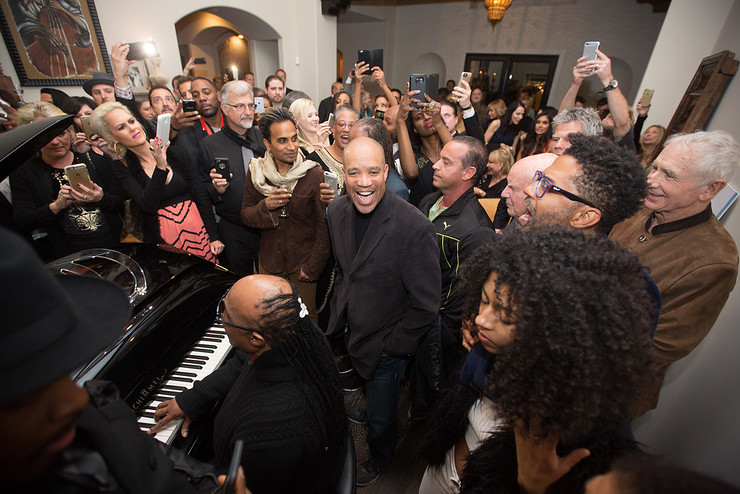 Musician Stevie Wonder performs at the home of Eric Benet & Manuela Testolini for the In A Perfect World 10 Year Celebration Of Giving