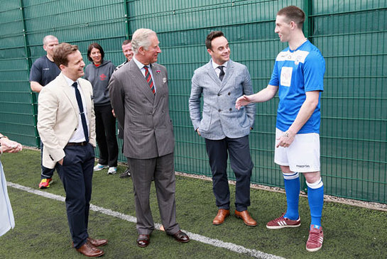 The Prince of Wales with Ant and Dec at Parc Prison in Wales