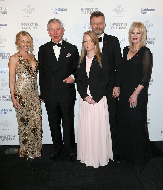 Prince Charles with Kylie Minogue, Hugh Dennis and Joanna Lumley