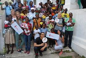 Miss USA Olivia Jordan, Quincy Brown, Karrueche Tran and Kristen Taekman visit local Smile Train hospital in Cap Haitien, Haiti.