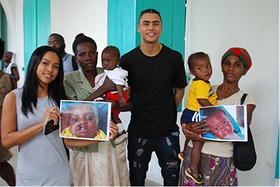 Karrueche Tran and Quincy Brown visit Smile Train patients and their families at Justinian University Hospital in Cap Haitien, Haiti.