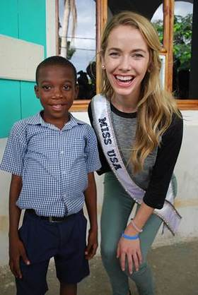 Miss USA Olivia Jordan visits Smile Train's cleft patients at their local partner hospital in Cap Haitien, Haiti
