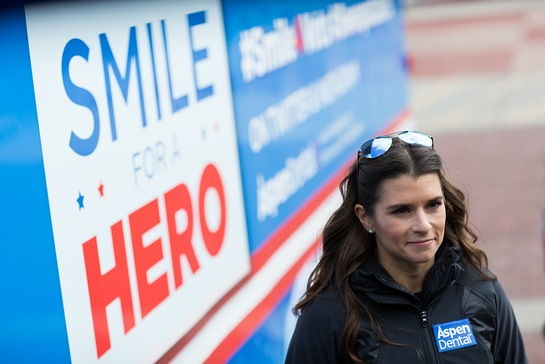 Danica Patrick, Healthy Mouth Movement ambassador and NASCAR Sprint Cup Series driver, at the Aspen Dental MouthMobile