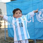 Messi Gives Signed Soccer Jerseys And Ball To Boy In Afghanistan
