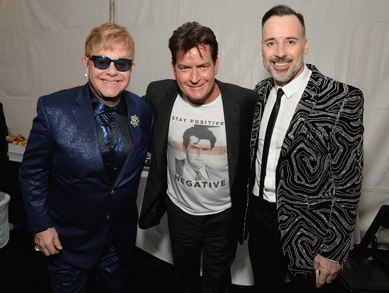 Elton John, actor Charlie Sheen and host Dave Furnish attend the 24th Annual Elton John AIDS Foundation's Oscar Viewing Party