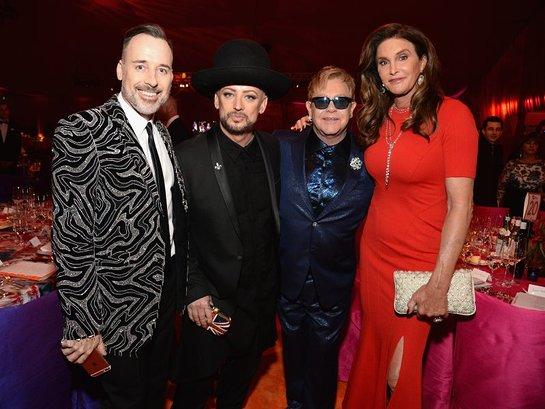 David Furnish, Boy George, Elton John and Caitlyn Jenner