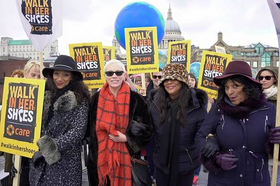 Annie and Sister Sledge on the Care International Walk In Her Shoes March