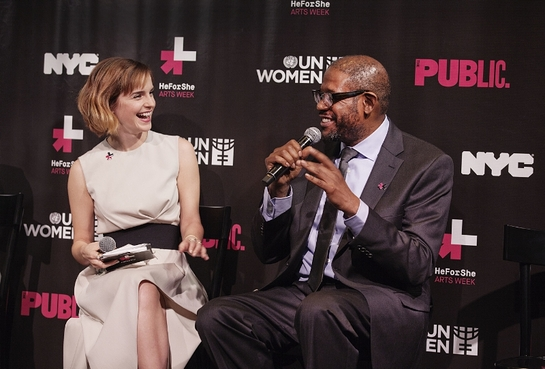 Emma Watson and Forest Whitaker discuss issues of gender equality at the launch of HeForShe Arts Week on International Women's Day