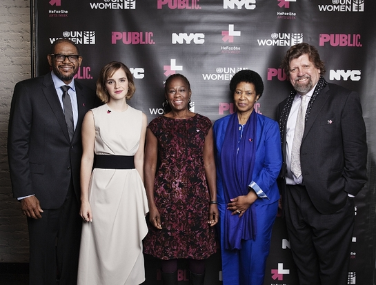 Forest Whitaker; Emma Watson; UN Women Executive Director, Phumzile Mlambo-Ngcuka; The Public Theatre's Artistic Director, Oskar Eustis