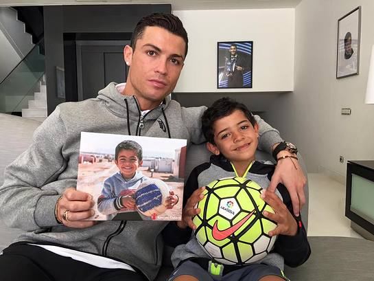 Cristiano Ronaldo posts selfie with son and football-loving Syrian refugee boy