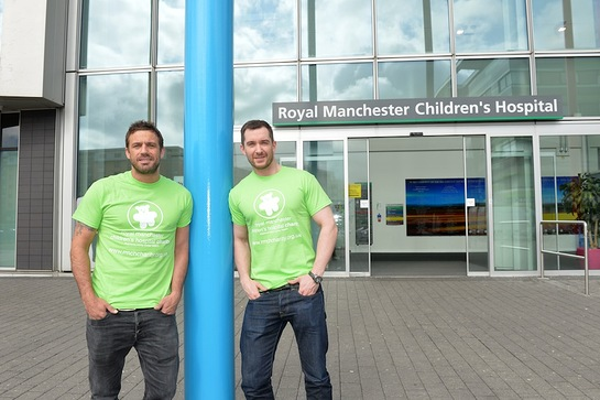 Jamie Lomas and Anthony Quinlan outside hospital