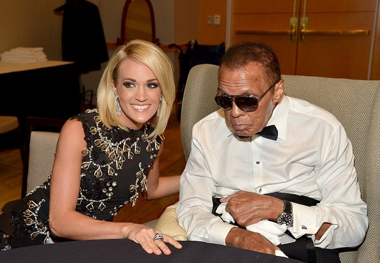 Muhammad Ali and honoree Carrie Underwood attend Muhammad Ali's Celebrity Fight Night XXII