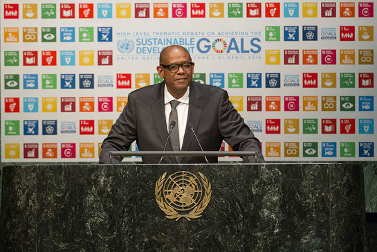 Forest Whitaker addresses the General Assembly High-level Thematic Debate on Achieving the SDGs