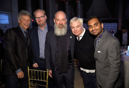 Jon Bon Jovi, Jim Gaffigan, Michael Stipe, Mike Myers and Aziz Ansari