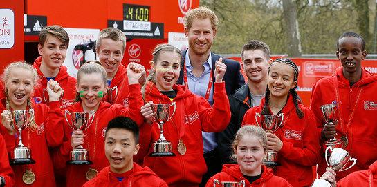 Prince Harry with winners of the 2016 Virgin Money London Marathon
