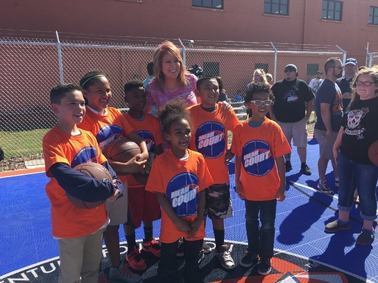 Nancy Lieberman and members of the Maverick Boys & Girls Clubs Amarillo and Canyon on new DreamCourt
