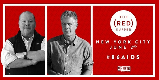 Mario Batali and Anthony Bourdain invite New Yorkers to the table in the fight to #86AIDS