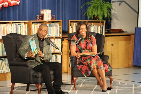LeVar Burton and First Lady Michelle Obama during the Joining Forces Event at Thayer Elementary School at Fort Leonard Wood, MO.