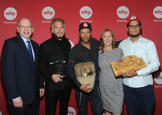Seth Saltzman, ASCAP Senior Vice President; musician Kenny Loggins; rock musician Tom Morello; Noreen Springstead, WhyHunger Executive Director; partner honoree Raul Amorim of Brazil's Landless Movement