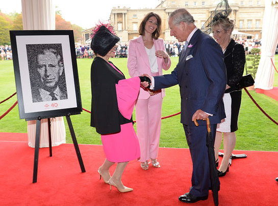 Dame Joan Collins and Gemma Arterton with Prince Charles