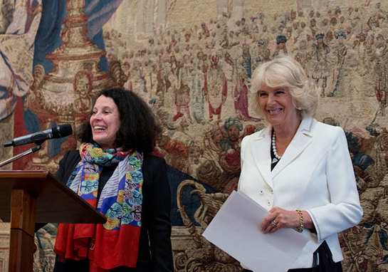 Duchess Of Cornwall with Sylvie Bermann during a reception to celebrate the 25th anniversary of Emmaus UK