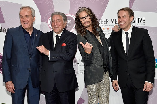 Larry Ruvo, Tony Bennett, Steven Tyler and Jeff Koons on the red carpet before Keep Memory Alive's 20th annual Power of Love gala,