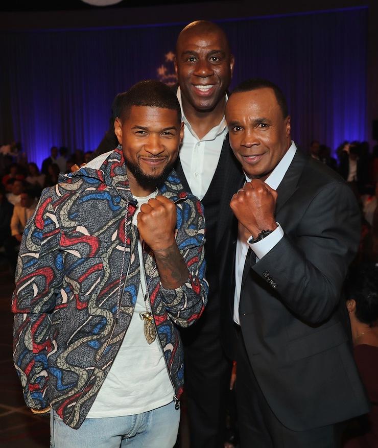 Usher, Magic Johnson and Sugar Ray Leonard