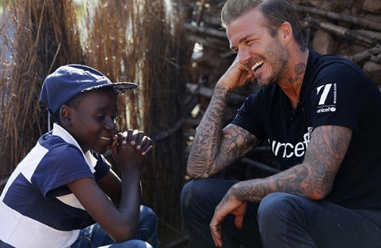 David Beckham meets Sebenelle, 14, in Makhewu, Swaziland