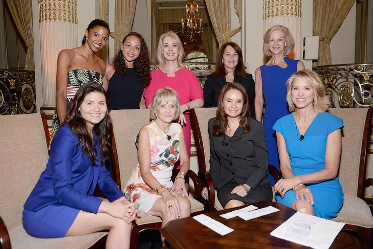Front row: Phillipa Soo, Kay Koplovitz, Rosie Rios, Paula Zahn. Back row: Renée Elise Goldsberry, Jasmine Cephas Jones, Carolyn Carter, Cathy Baron Tamraz, Christie Hefner
