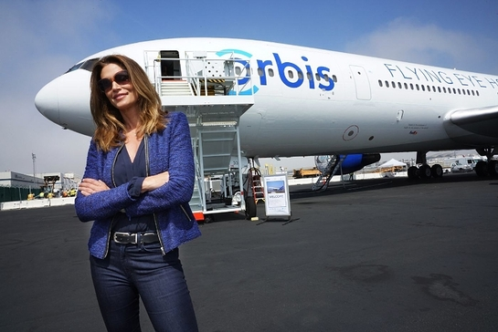 Omega Brand Ambassador Cindy Crawford, joined Orbis to help unveil its new Flying Eye Hospital at Los Angeles International Airport