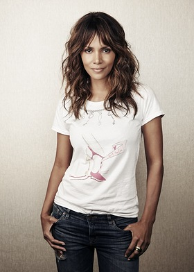 Halle Berry wearing Saks' 2016 Key To The Cure exclusive, limited edition t-shirt designed by Christian Louboutin