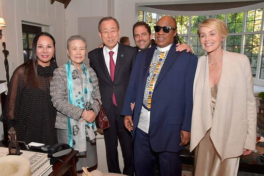 Ban Ki-moon, Brett Ratner, Stevie Wonder, Sharon Stone