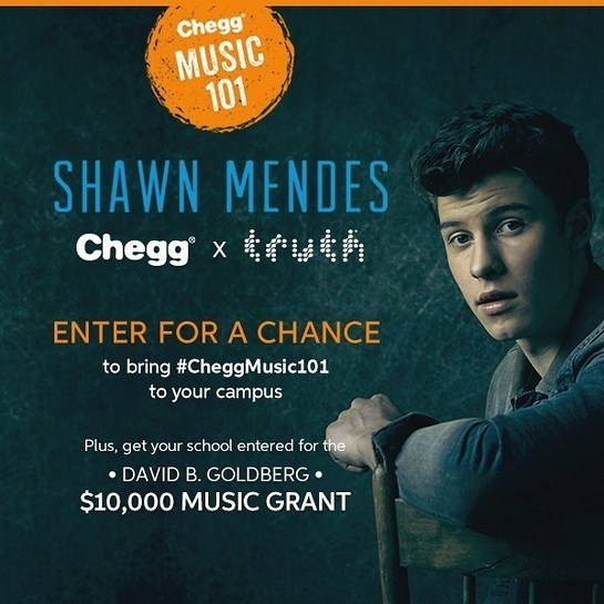 Shawn Mendes partners with Chegg and truth to visit one lucky campus