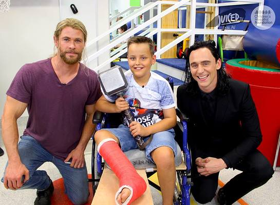 Chris Hemsworth and Tom Hiddleston Visit Lady Cilento Children's Hospital