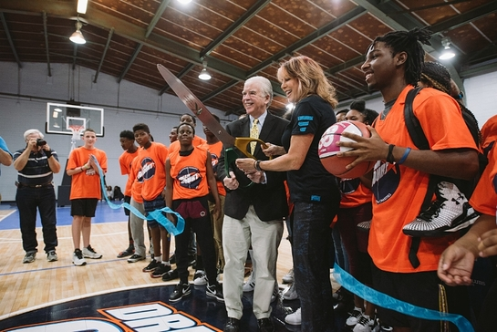 Nancy Lieberman and Camden, S.C. Mayor Tony Scully dedicate new Dream Court at Boys & Girls Clubs of the Midlands-Jackson Teen Center