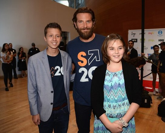 (L-R) patient Mitch Carbon, actor Bradley Cooper and patient Emily Whitehead attend Stand Up To Cancer
