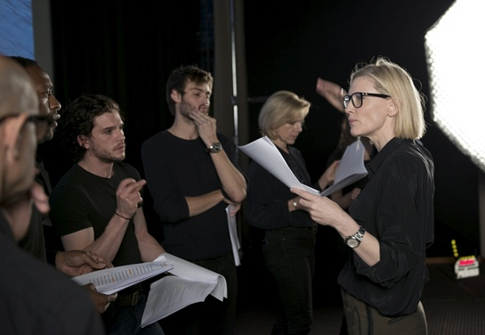 Cate Blanchett and actors Stanley Tucci, Chiwetel Ejiofor, Kit Harington, and Douglas Booth rehearse What They Took With Them