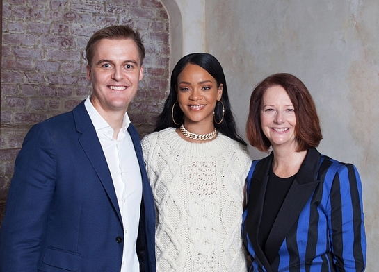 Hugh Evans, CEO of Global Citizen, with Rihanna and Global Partnership for Education (GPE) Chair and Julia Gillard announce partnership with Rihanna's Clara Lionel Foundation