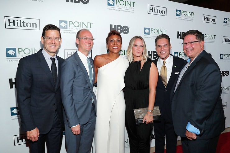 James Cummings, Justin Mohatt, Robin Roberts, Amber Laign, Jorge Valencia and Ray Johnson arrive at Point Foundation's Point Honors gala