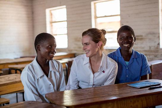 UN Women Goodwill Ambassador Emma Watson (centre) visits Mtakataka Secondary School in the District of Dedza