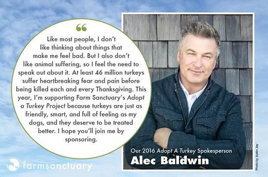 Alec Baldwin Speaks Out for Turkeys